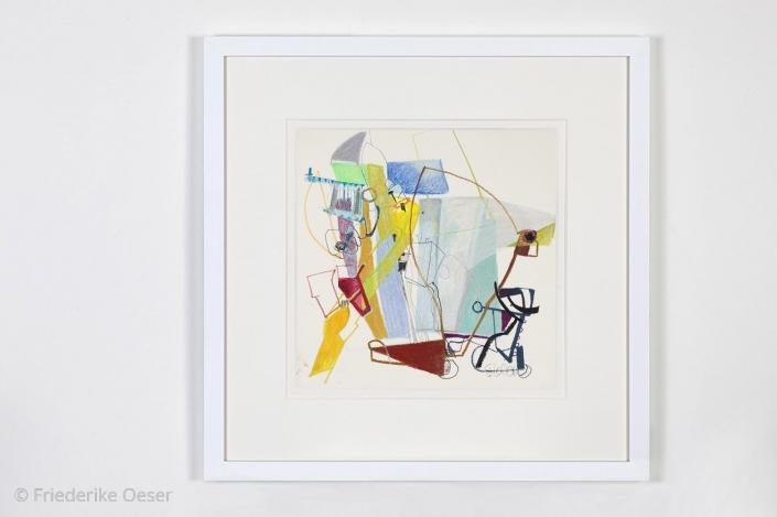 AUSBLICK ZUERICH / Ölpastell, Zeichenkarton / 40 x 40 cm / 15.7 x 15.7 inches