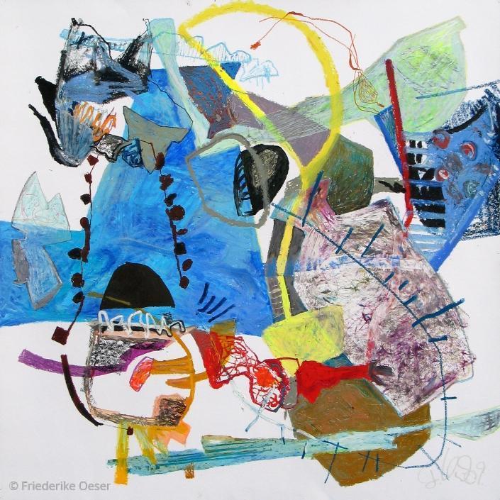 BLAUBILD / Ölpastell, Zeichenkarton / 100 x 100 cm / 39.4 x 39.4 inches