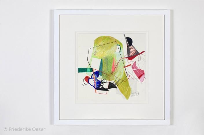 IMAGINATION MEETS REALITY 2 / Ölpastell, Zeichenkarton / 40 x 40 cm / 15.7 x 15.7 inches