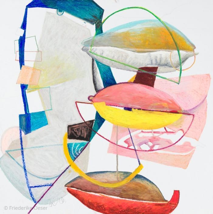 O.T. GLASKUNST 5 / Ölpastell, Zeichenkarton / 100 x 100 cm / 39.4 x 39.4 inches