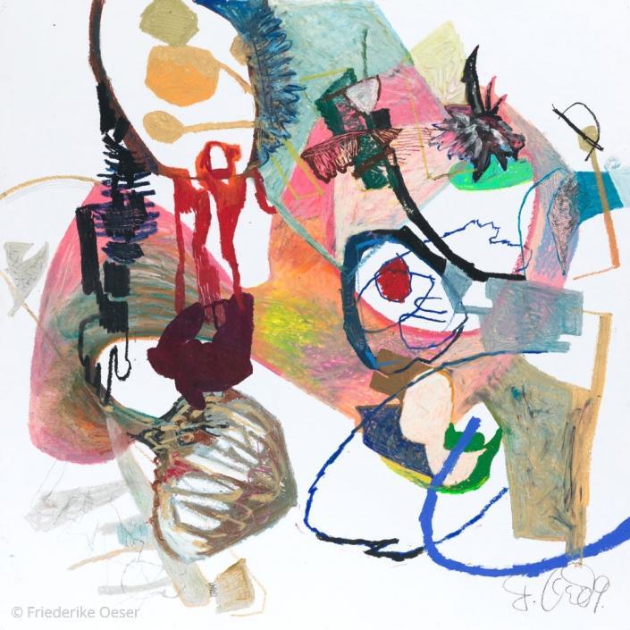 WAS ZUSAMMEN HAELT / Ölpastell, Zeichenkarton / 100 x 100 cm / 39.4 x 39.4 inches